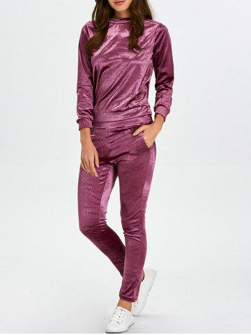 Fancy Stand Collar Velvet Tee and Velvet Sport Pants - S PURPLISH RED Mobile
