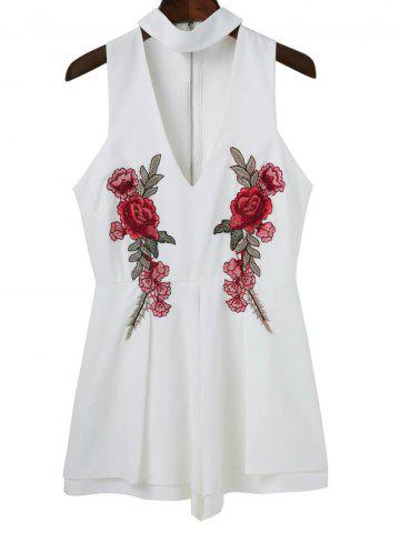 Cheap Embroidered Patches Choker Romper