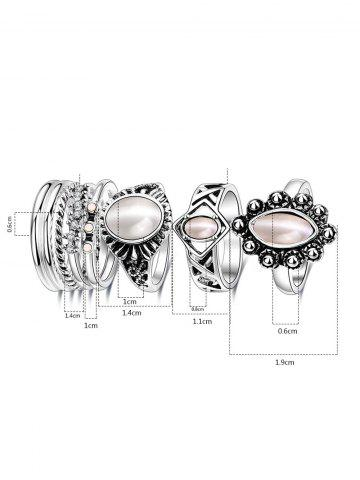 Shops Artificial Opal Oval Ring Set - 7 SILVER Mobile