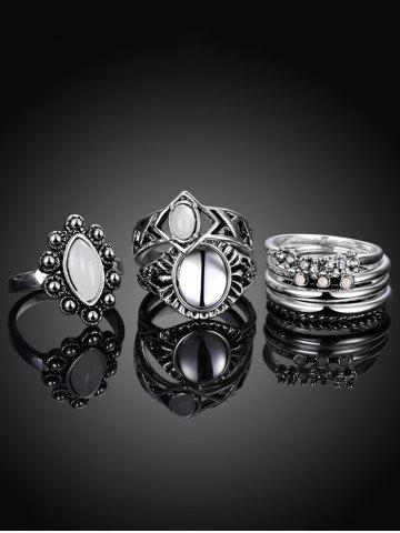 Fashion Artificial Opal Oval Ring Set - 7 SILVER Mobile