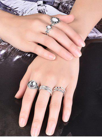 Fancy Artificial Opal Oval Ring Set - 7 SILVER Mobile