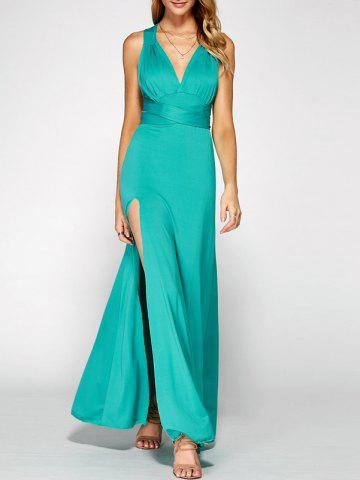 Best Crisscross Backless Side Split Maxi Prom Dress GREEN XL