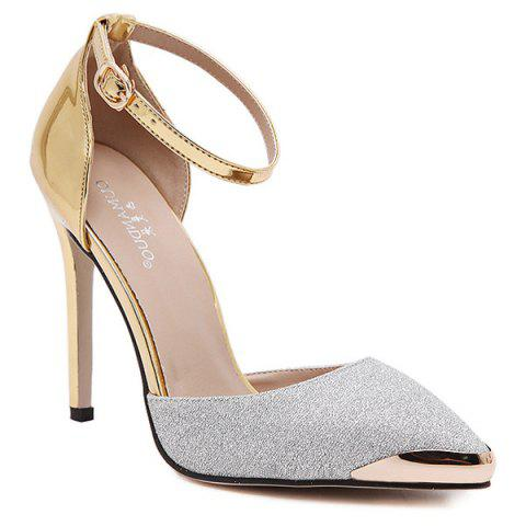 Hot Two Piece Sequined Cloth Metal Toe Pumps