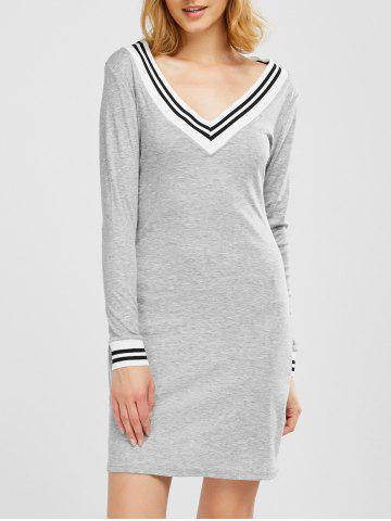 Cricket Long Sleeve Knitted Sweater Shirt Dress - Light Gray - L