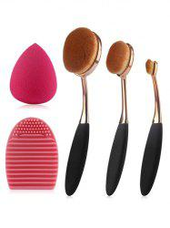 3 Pcs Oval Toothbrush Makeup Brushes Set + Teardrop Makeup Sponge + Brush Egg - BLACK