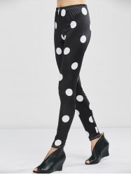Polka Dot High Waist Leggings - BLACK