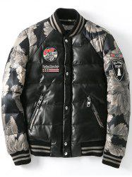 Zip Up Patch Design Printed Quilted Jacket -