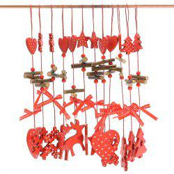 12PCS Christmas Decoration Supplies Wooden Hanging Pendants - RED