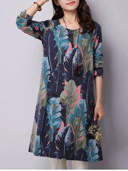 Feather Printed Long Sleeve Swing Dress