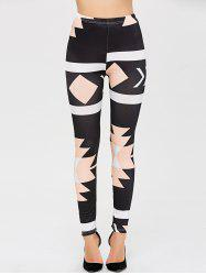 High Waisted Color Block Skinny Leg Pants
