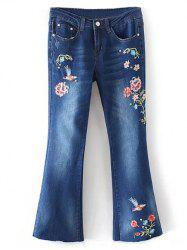 Bird Embroidery Bootcut Jeans - DENIM BLUE