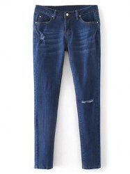 Low Rise Destroyed Cigarette Jeans - DENIM BLUE