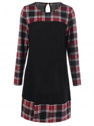 Plus Size Plaid Long Sleeve Shift Dress -