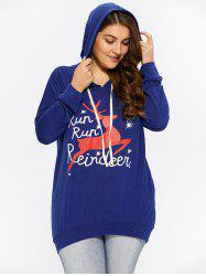 Plus Size Christmas Run Run Reindeer Hoodie - NAVY BLUE