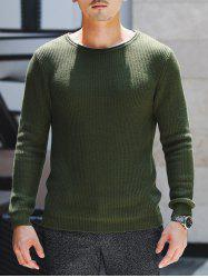 Round Neck Ribbed Knitted Pullover Sweater