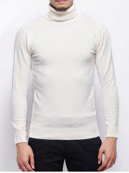 Stretchy Pullover Roll Neck Sweater - WHITE 3XL