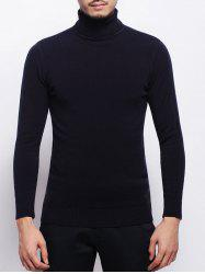 Stretchy Pullover Roll Neck Sweater - BLACK