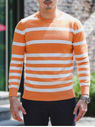 Crew Neck Striped Pullover Knitwear -