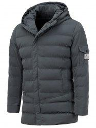 Hooded Pocket Design Zip Up Padded Coat -