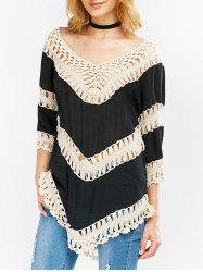 Low Cut Color Block Crochet Blouse -