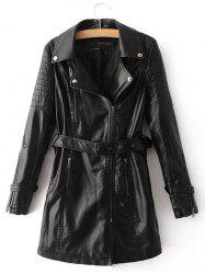PU Leather Coat With Belt -