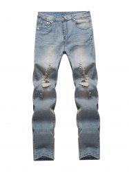 Knee Holes Frayed Zipper Fly Narrow Feet Ripped Jeans - BLUE 32