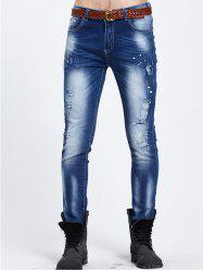 Zipper Fly Narrow Feet Peinture Splatter Ripped Jeans - Bleu