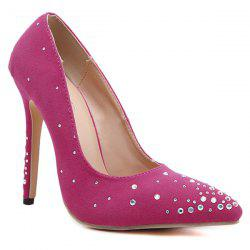 Rhinestones Flock Pointed Toe Pumps