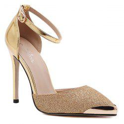 Two Piece Sequined Cloth Metal Toe Pumps