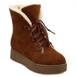 Lace Up Suede Flat Heel Snow Boots -