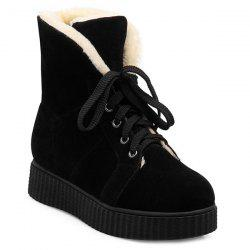 Lace Up Suede Flat Heel Snow Boots