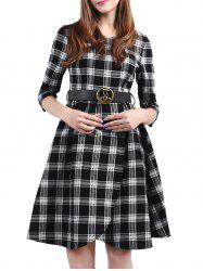 Plaid Belted Fit and Flare Dress -