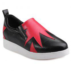 Color Block Slip On Sneakers - RED WITH BLACK