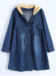 Hooded Ruched Denim Coat