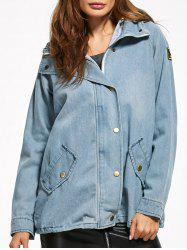 Hooded Patched Denim Panel Jacket -