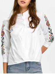 High-Low Floral Embroidered Shirt