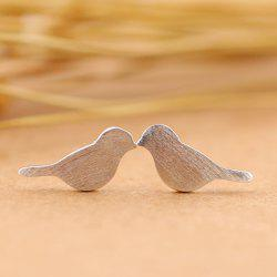 Birds Shape Stud Earrings - SILVER