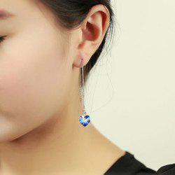 Ocean Heart Fake Crystal Drop Earrings