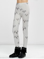 High Waist Elk Print Christmas Tight Leggings