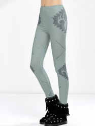 Elk Print High Waist Christmas Tight Leggings - LIGHT GREEN