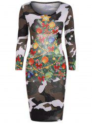 Christmas Tree Print Camouflage Dress -