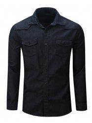 Chest Pocket Button Up Denim Shirt - BLACK 2XL