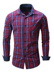 Plaid Chest Pocket Long Sleeve Shirt - RED 2XL