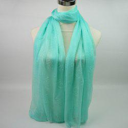Lightweight Roses Jacquard Doux Fils Shawl Wrap Scarf - Vert Clair