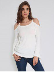Cold Shoulder Long Sleeve Plain T-Shirt