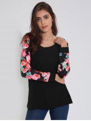 Raglan Sleeve T-Shirt with Floral Print - BLACK XL