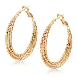 Carved Layered Hoop Earrings - CHAMPAGNE