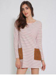 T-Shirt Tunic Striped Dress with Pocket
