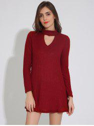 Ribbed A Line Tunic Dress - WINE RED