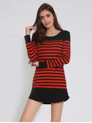 Drop Shoulder Striped Tunic Casual Dress - RED WITH BLACK